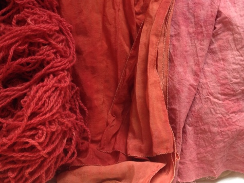 wool, silk, cotton dyed with madder